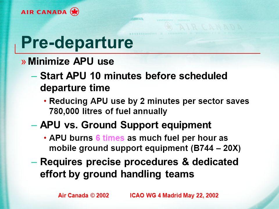 Pre-departure Minimize APU use