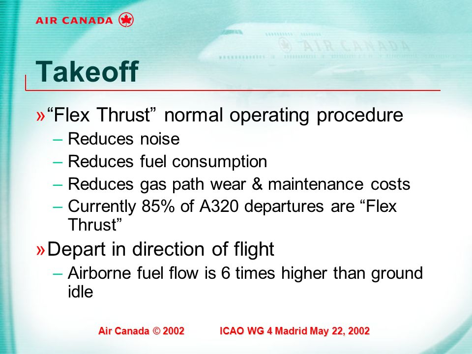 Takeoff Flex Thrust normal operating procedure