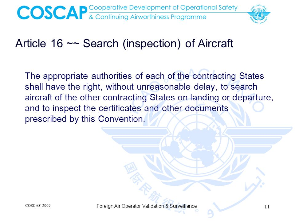 Article 16 ~~ Search (inspection) of Aircraft