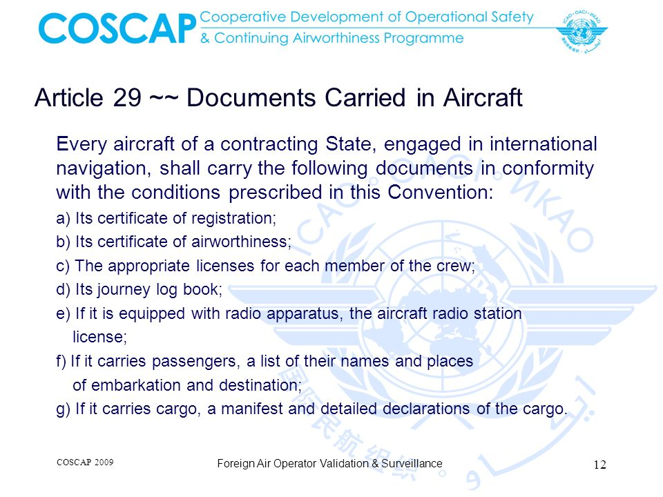 Article 29 ~~ Documents Carried in Aircraft