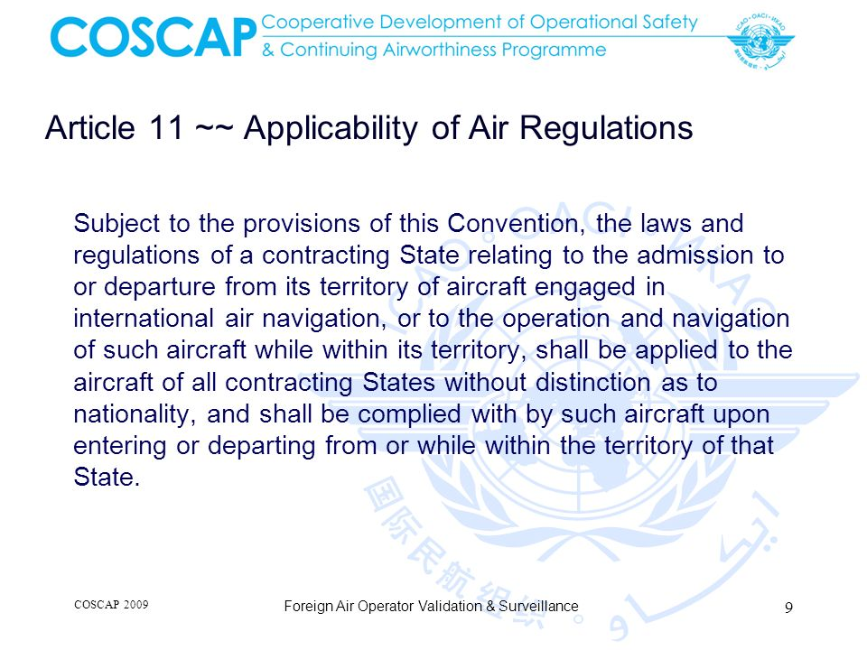 Article 11 ~~ Applicability of Air Regulations