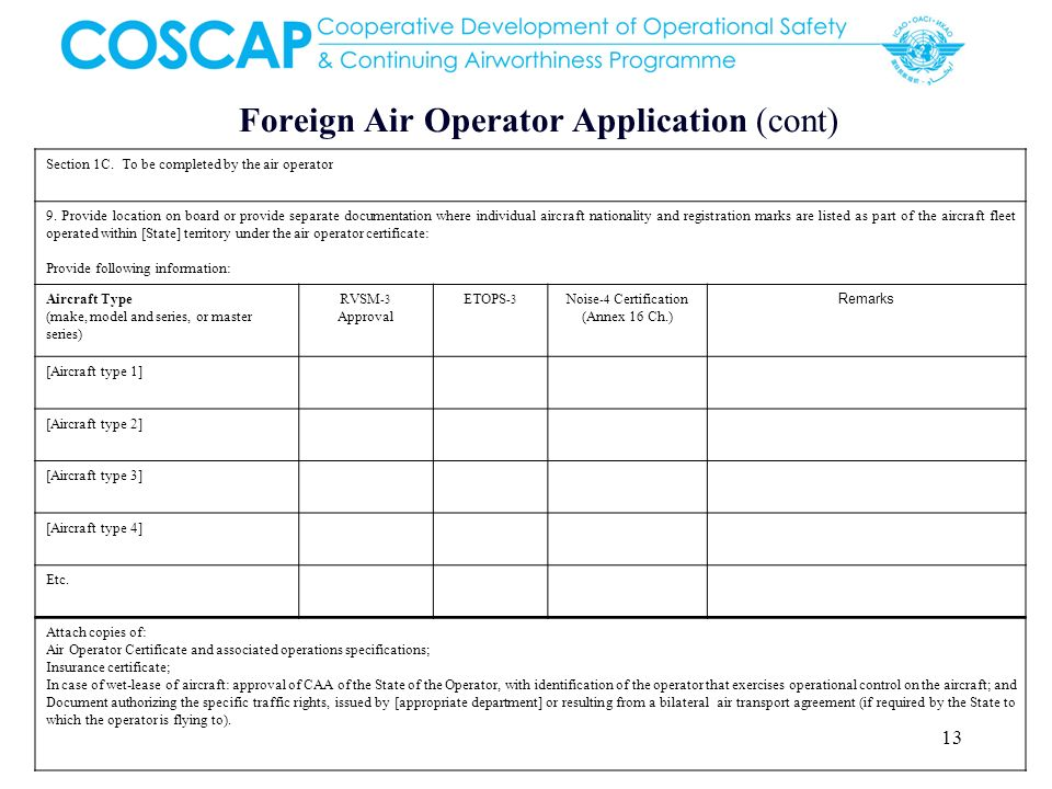 Foreign Air Operator Application (cont)