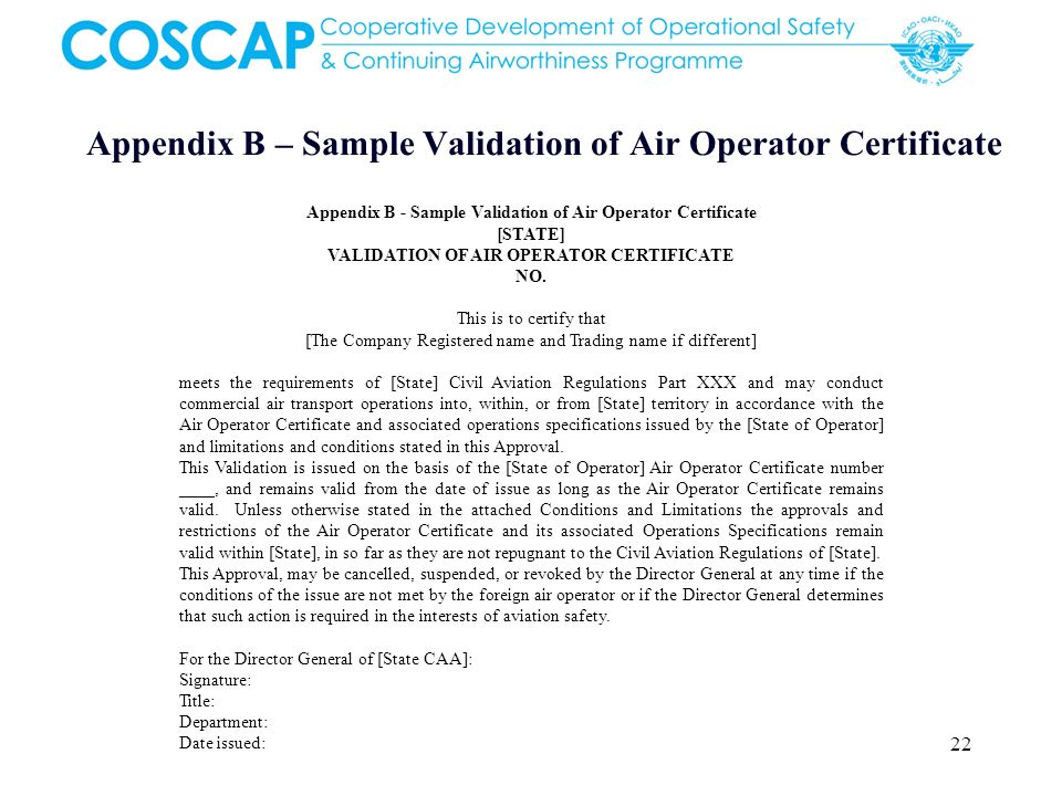 Appendix B – Sample Validation of Air Operator Certificate