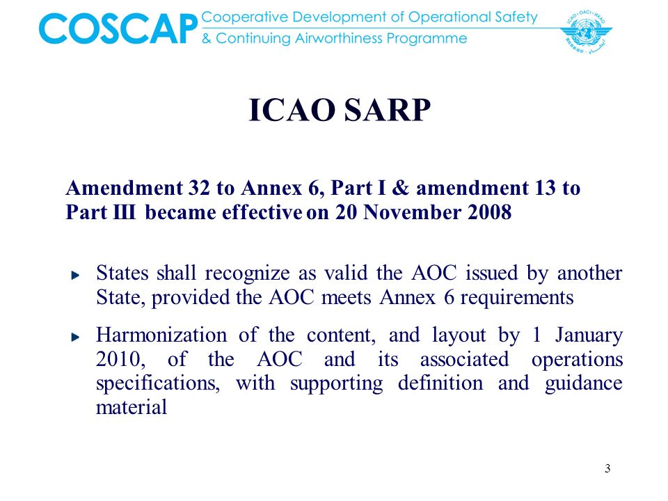 ICAO SARP Amendment 32 to Annex 6, Part I & amendment 13 to Part III became effective on 20 November 2008.