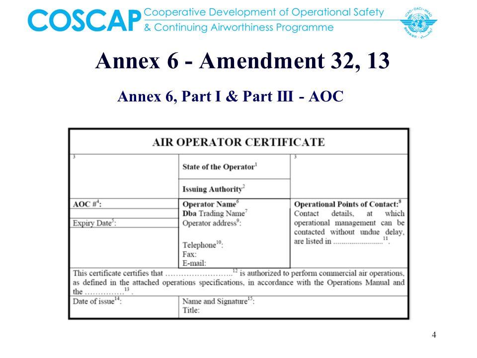 Annex 6, Part I & Part III - AOC