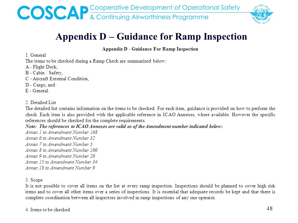 Appendix D – Guidance for Ramp Inspection