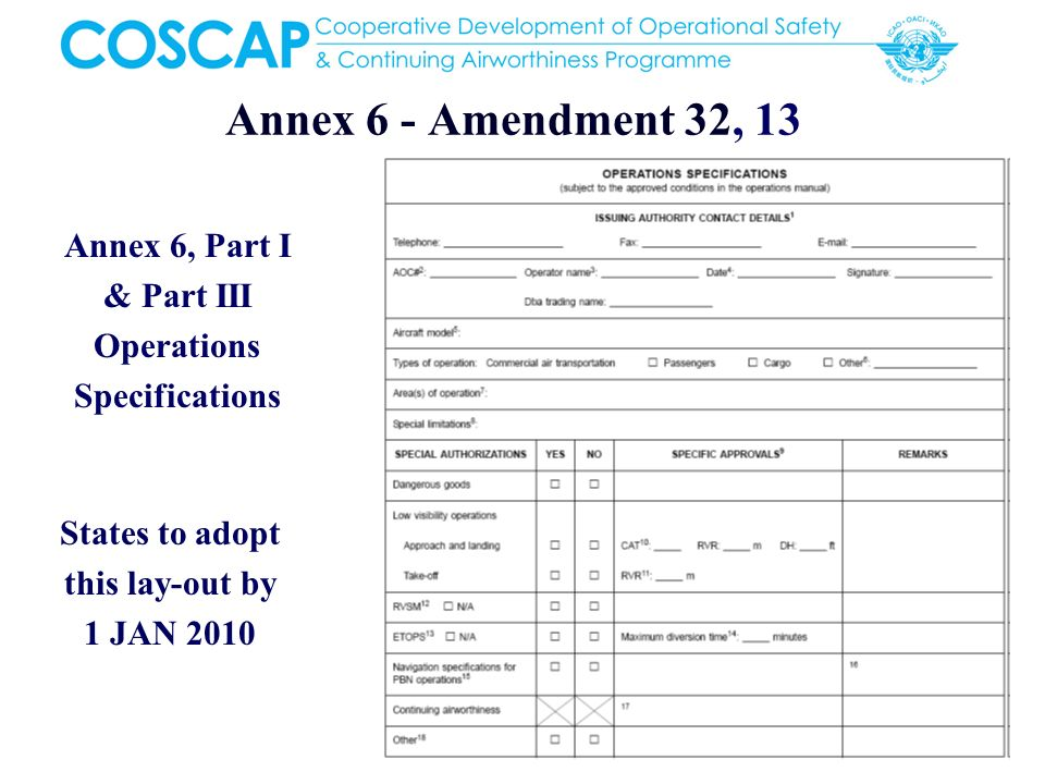 Annex 6 - Amendment 32, 13 Annex 6, Part I & Part III Operations