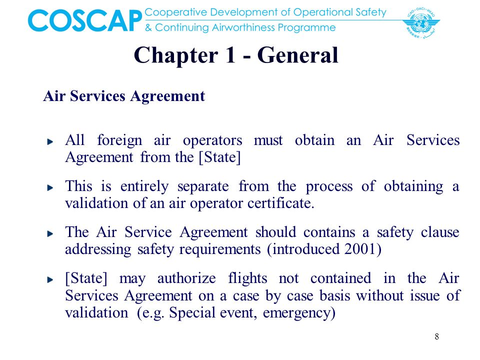 Chapter 1 - General Air Services Agreement