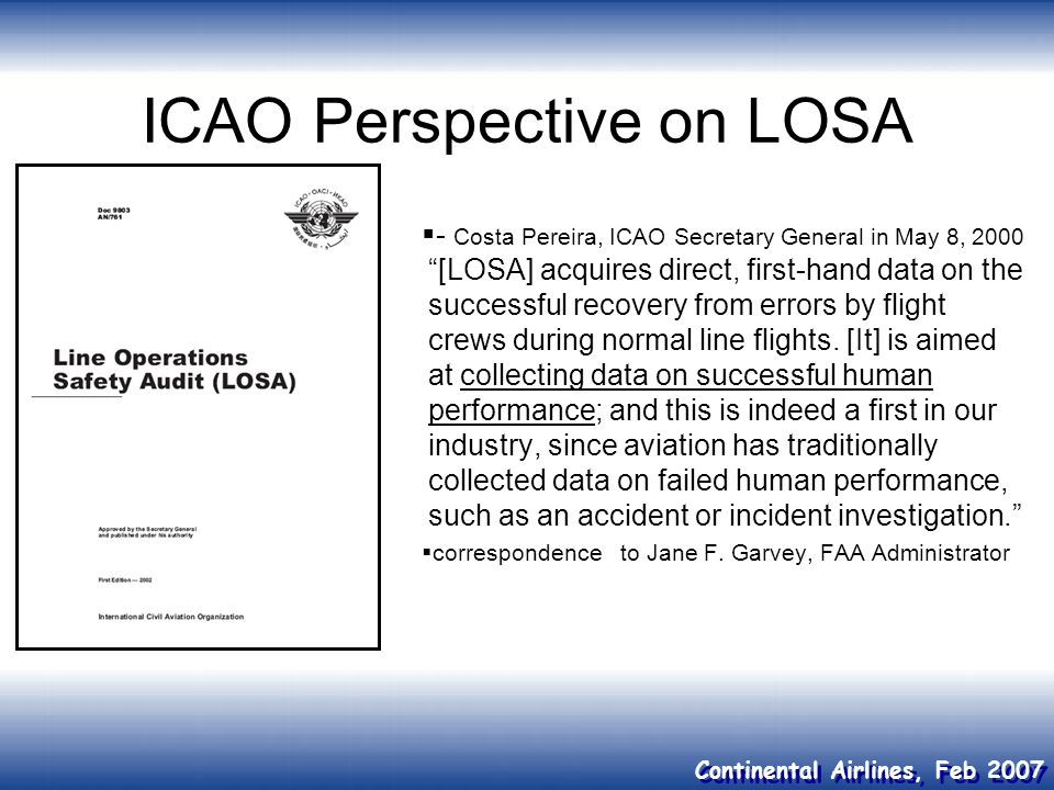 ICAO Perspective on LOSA