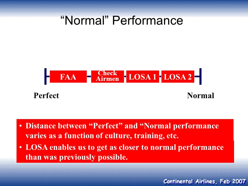 Normal Performance FAA LOSA 1 LOSA 2 Perfect Normal