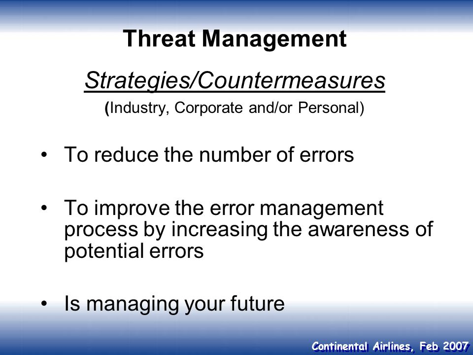 Strategies/Countermeasures