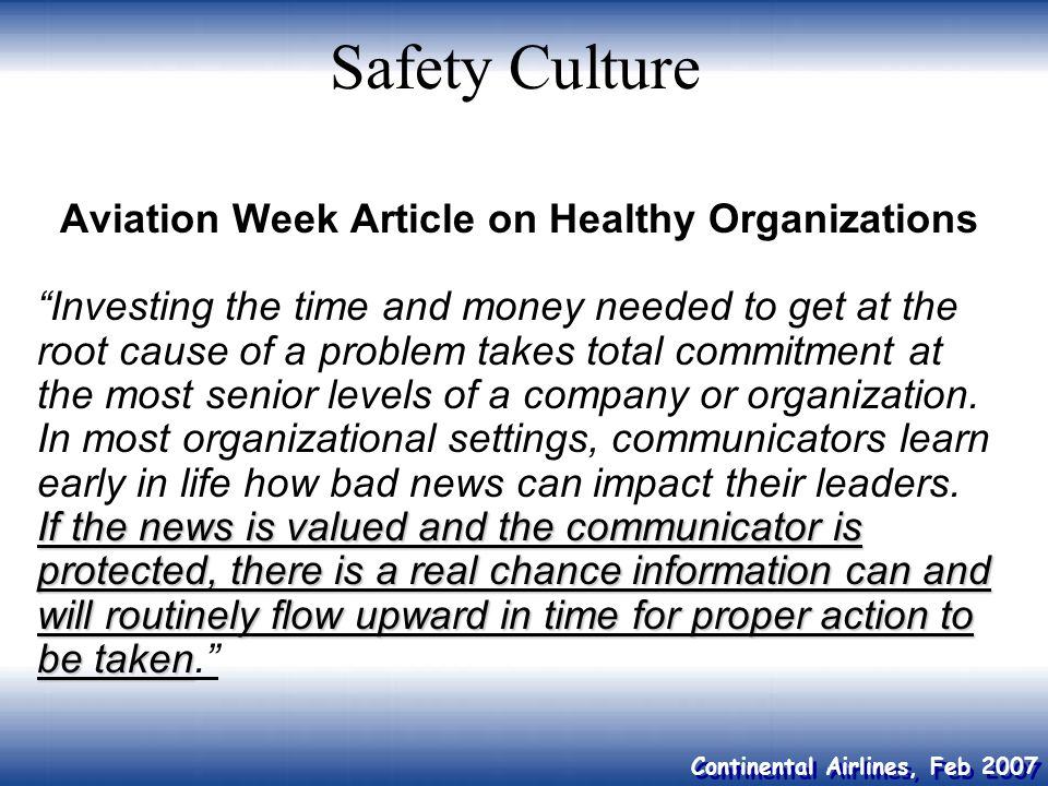 Aviation Week Article on Healthy Organizations