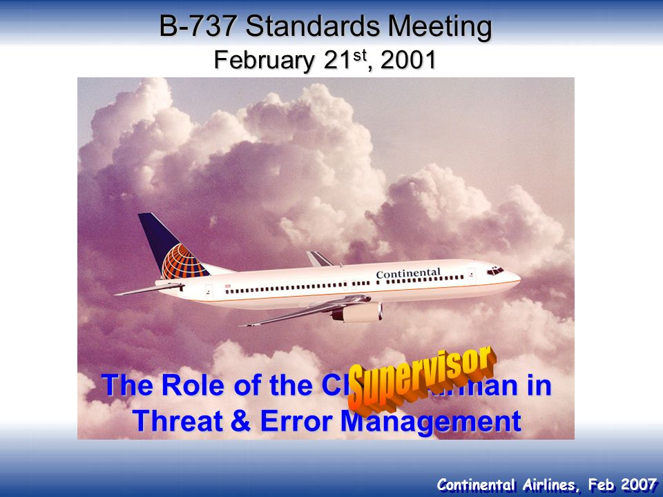 B-737 Standards Meeting February 21st, 2001