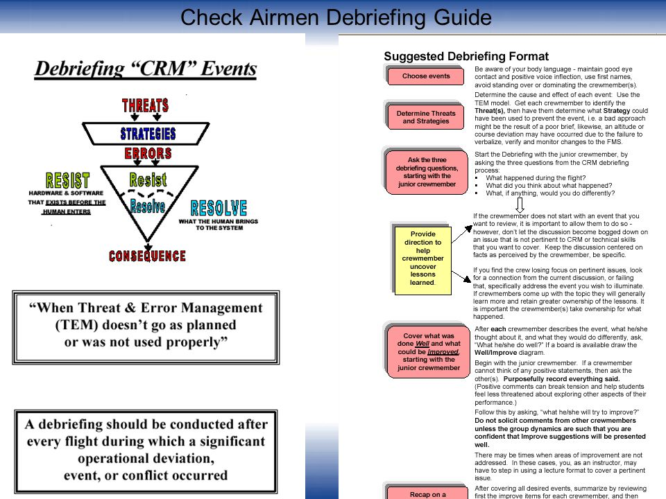 Check Airmen Debriefing Guide