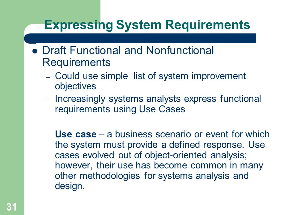 proposed system requirement list The system requirements specification (srs) document describes all data,  functional and  issues list supplementary information (as required)  crosscheck.