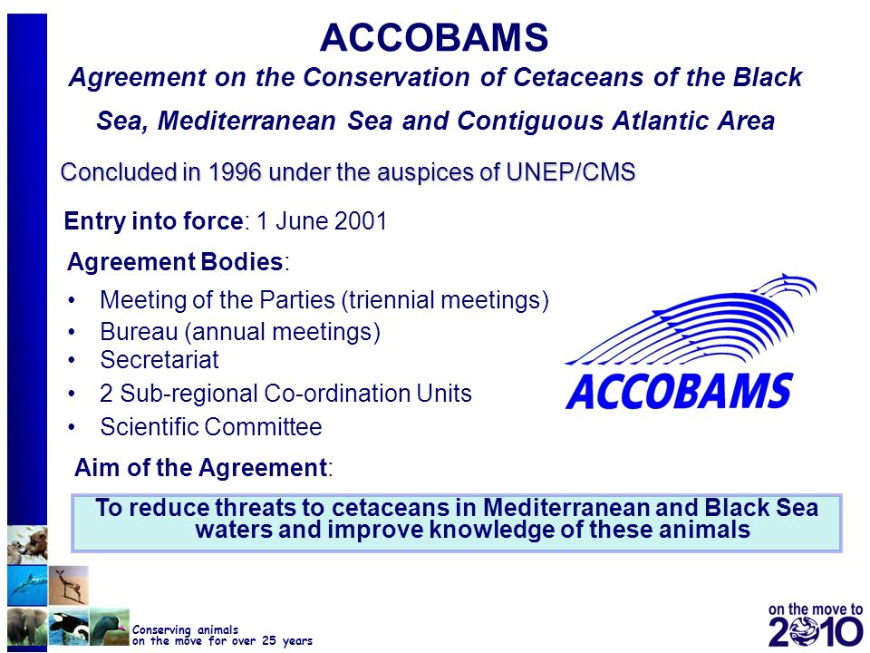 ACCOBAMS Agreement on the Conservation of Cetaceans of the Black Sea, Mediterranean Sea and Contiguous Atlantic Area