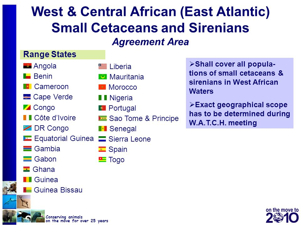 West & Central African (East Atlantic) Small Cetaceans and Sirenians Agreement Area