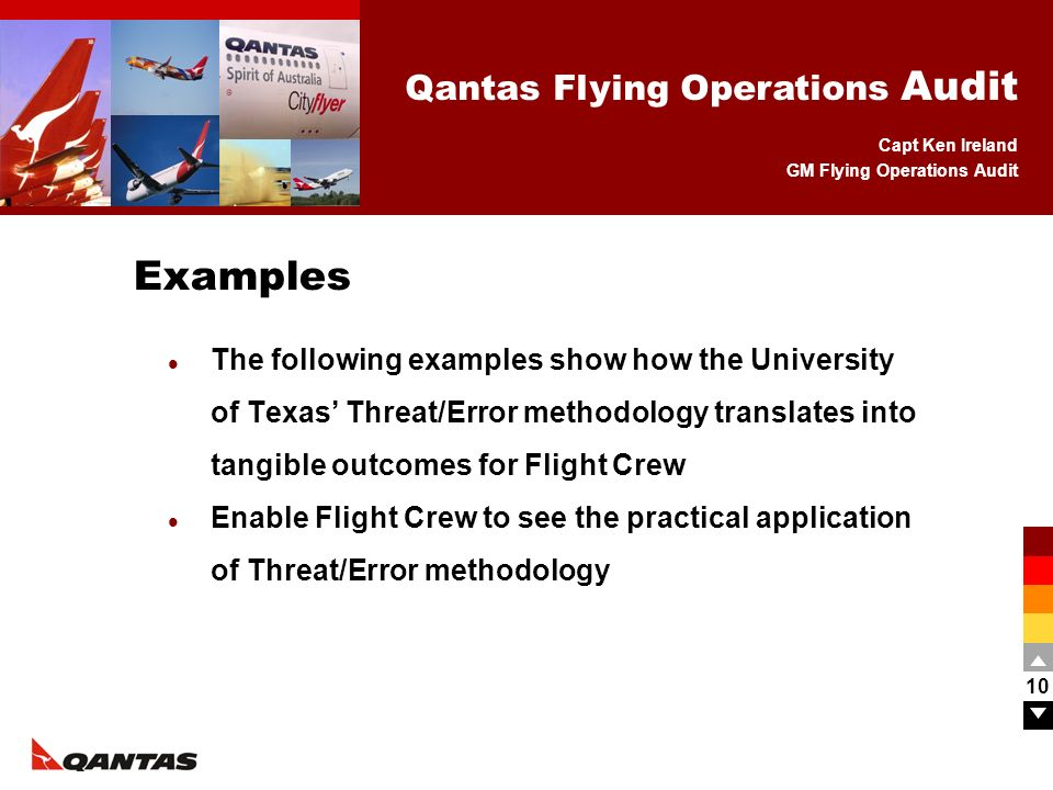 Examples The following examples show how the University of Texas' Threat/Error methodology translates into tangible outcomes for Flight Crew.