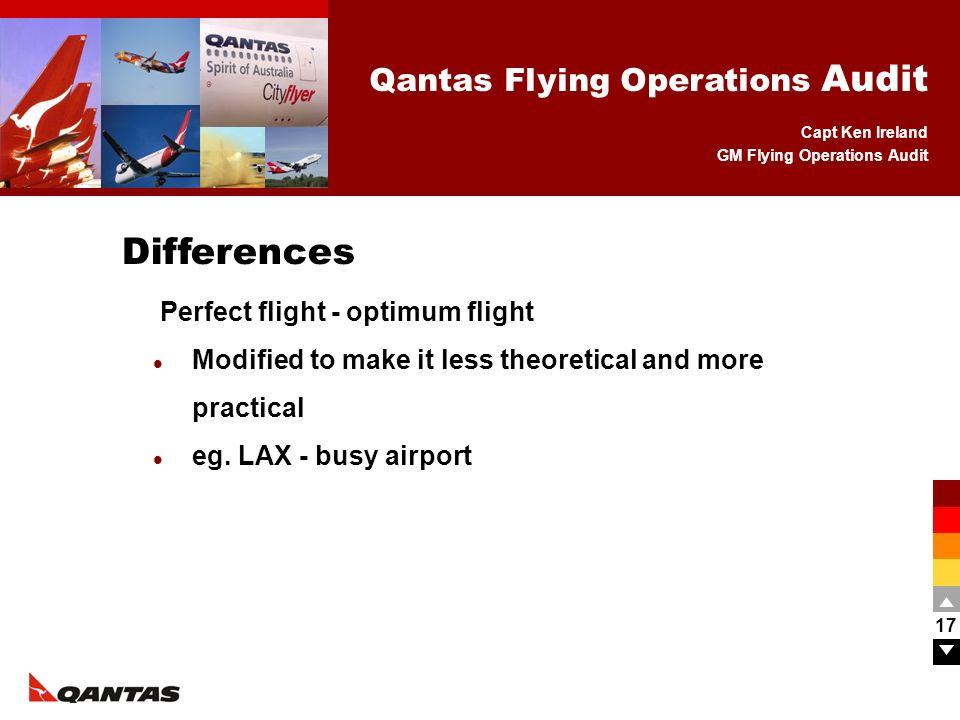 Differences Perfect flight - optimum flight