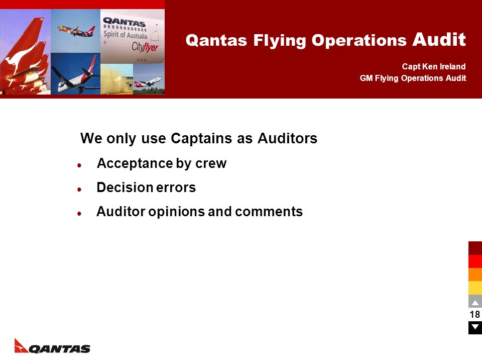 We only use Captains as Auditors Acceptance by crew Decision errors