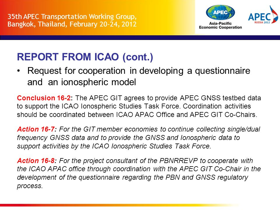REPORT FROM ICAO (cont.)