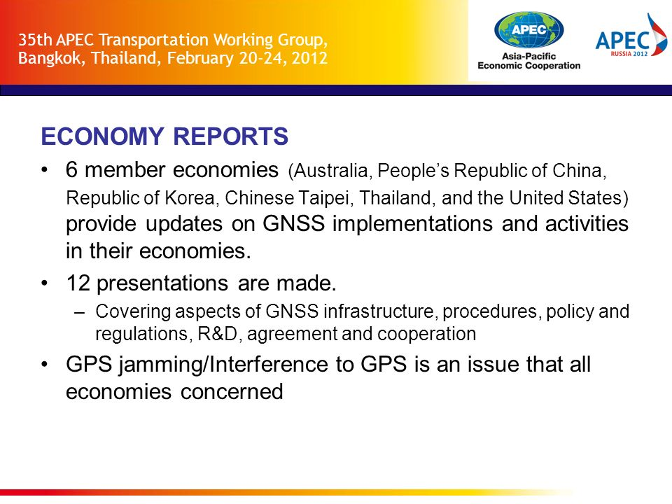 35th APEC Transportation Working Group, Bangkok, Thailand, February 20-24, 2012