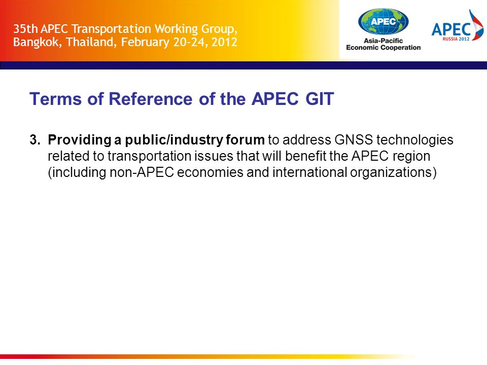 Terms of Reference of the APEC GIT