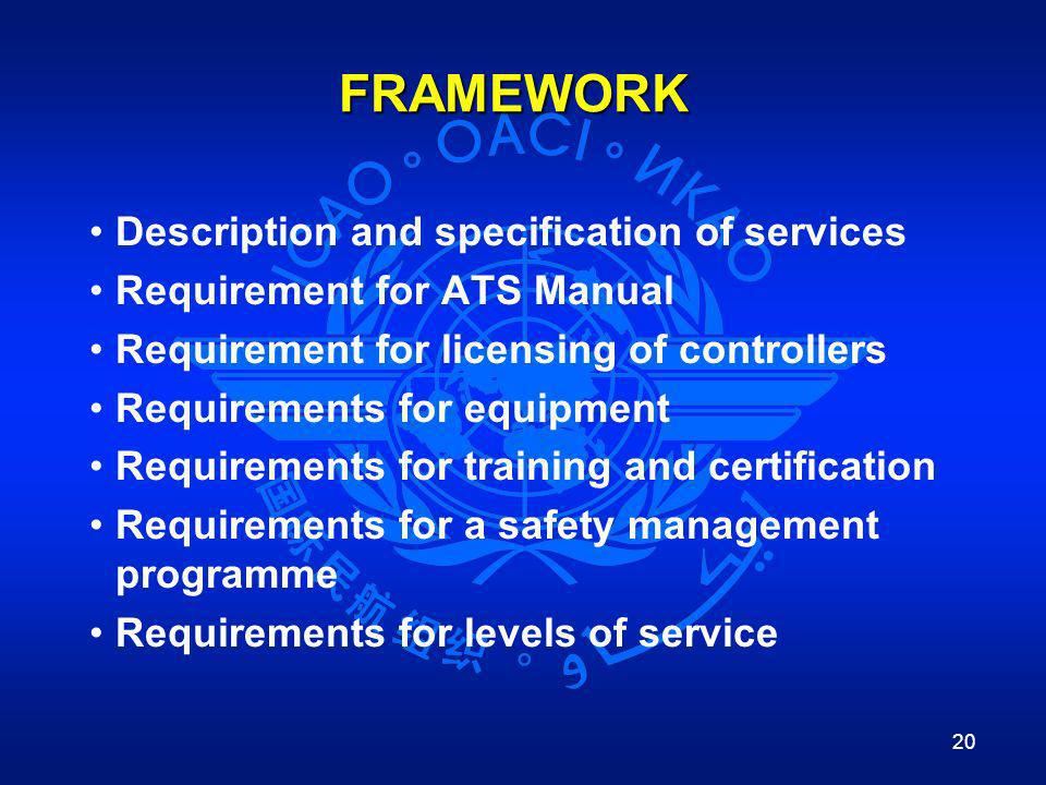 FRAMEWORK Description and specification of services