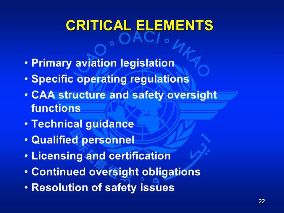 CRITICAL ELEMENTS Primary aviation legislation