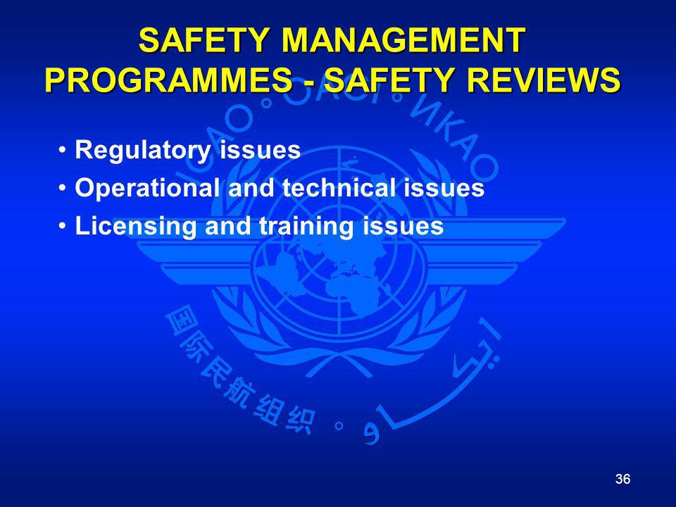 SAFETY MANAGEMENT PROGRAMMES - SAFETY REVIEWS