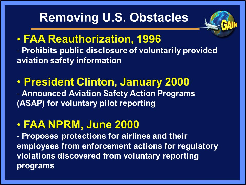 Removing U.S. Obstacles • FAA Reauthorization, 1996