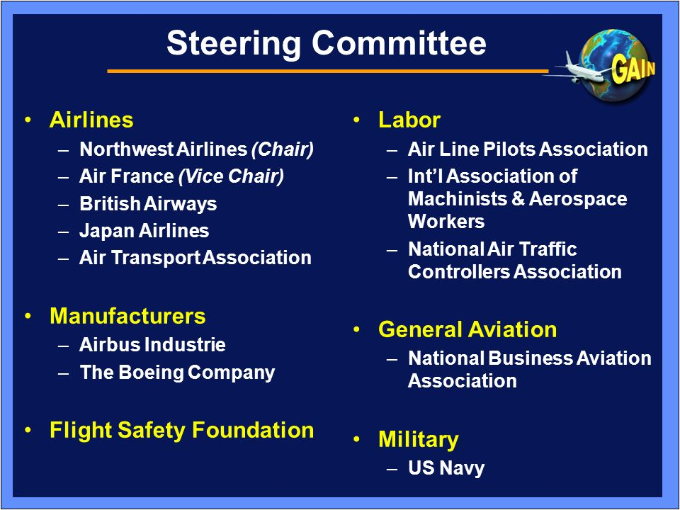 Steering Committee Airlines Manufacturers Flight Safety Foundation