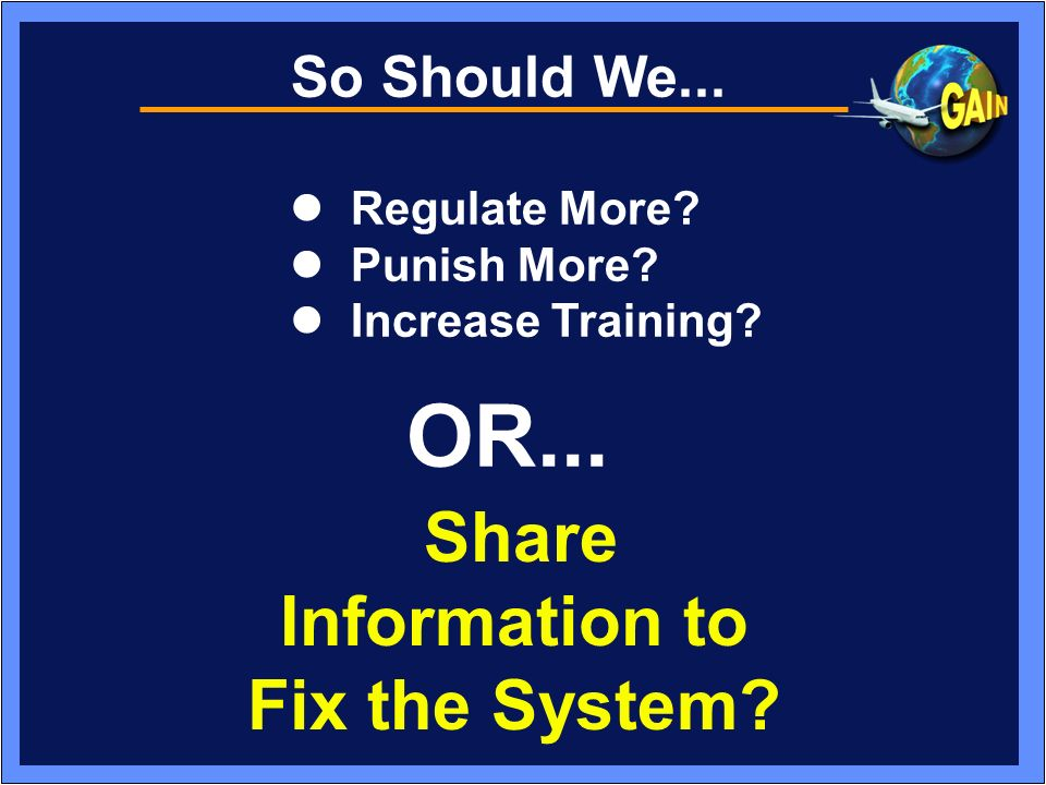 Share Information to Fix the System