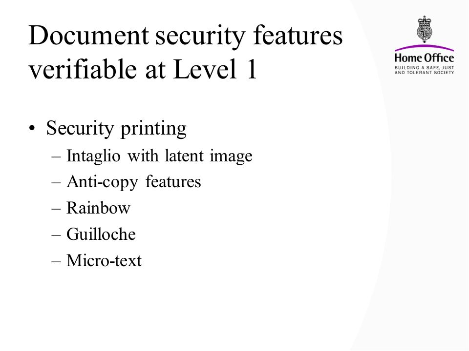 Document security features verifiable at Level 1