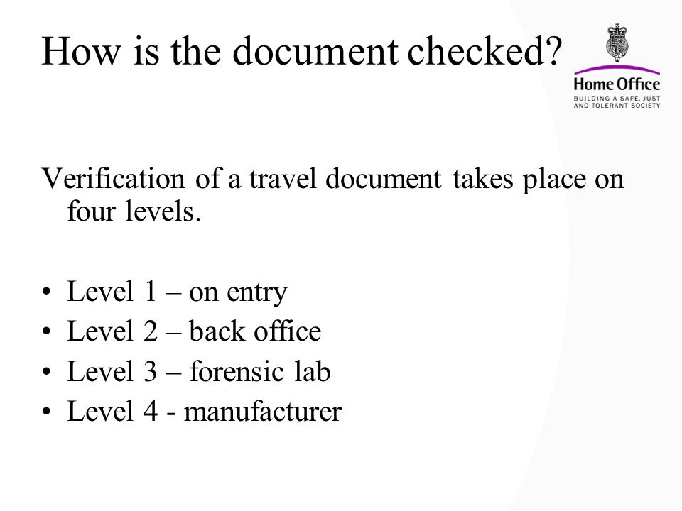 How is the document checked