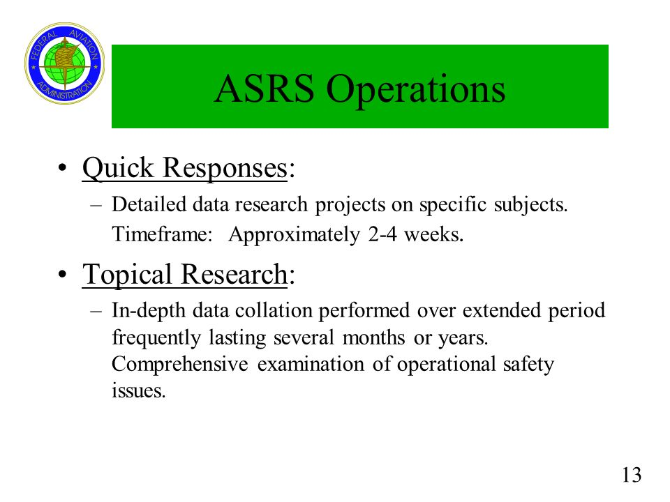 ASRS Operations Quick Responses: Topical Research: