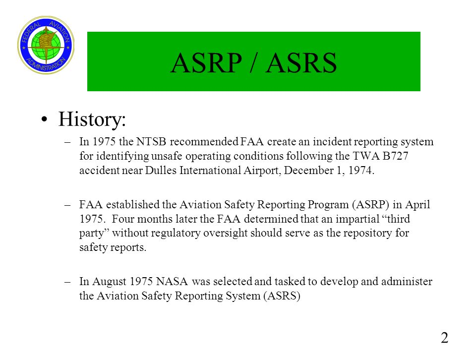 ASRP / ASRS History: