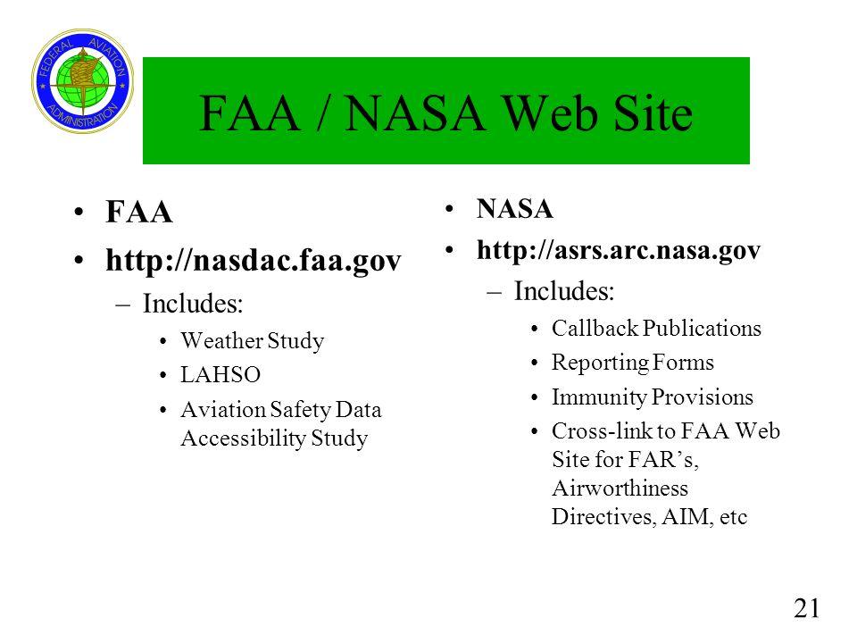 FAA / NASA Web Site FAA http://nasdac.faa.gov NASA