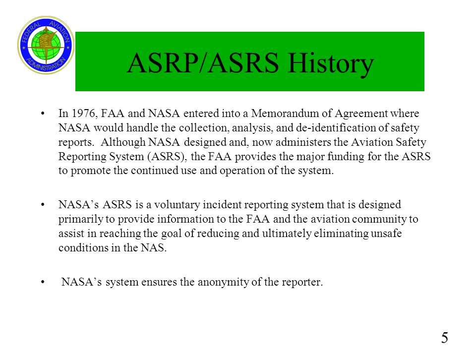 ASRP/ASRS History