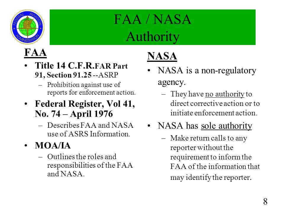 FAA / NASA Authority FAA NASA