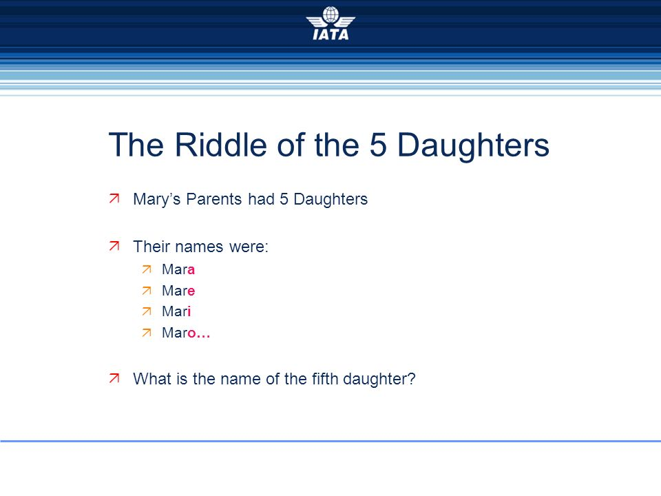 The Riddle of the 5 Daughters