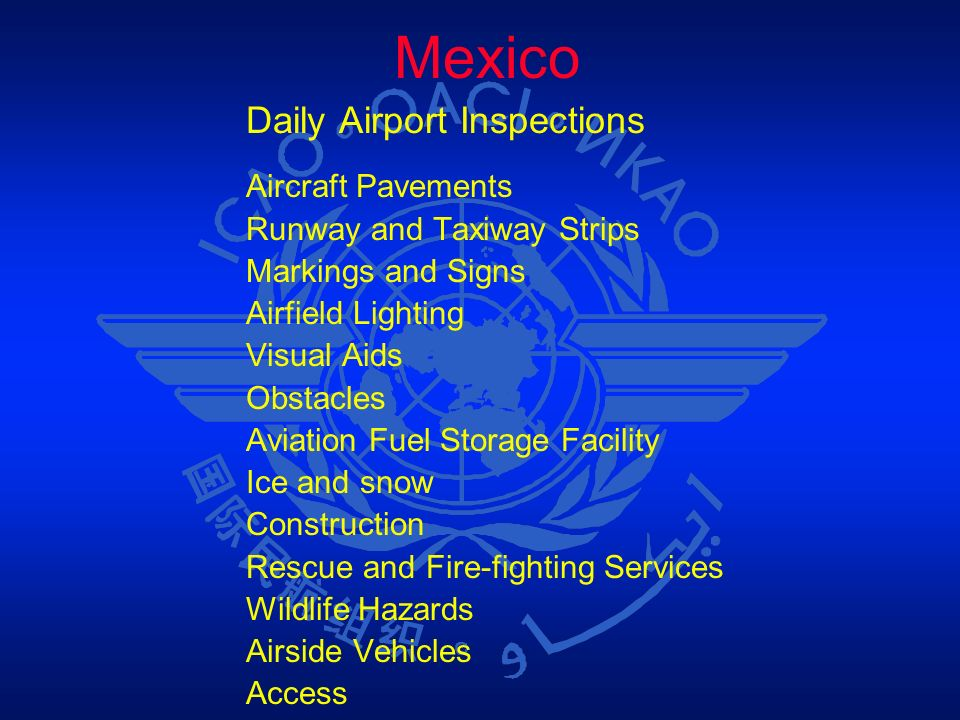 Mexico Daily Airport Inspections Aircraft Pavements