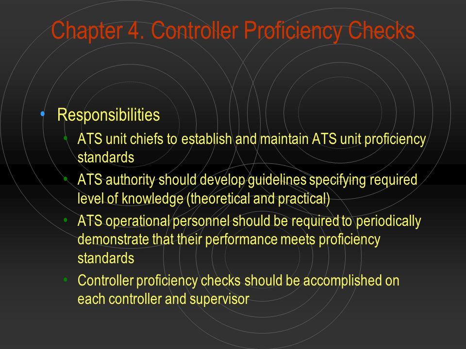 Chapter 4. Controller Proficiency Checks