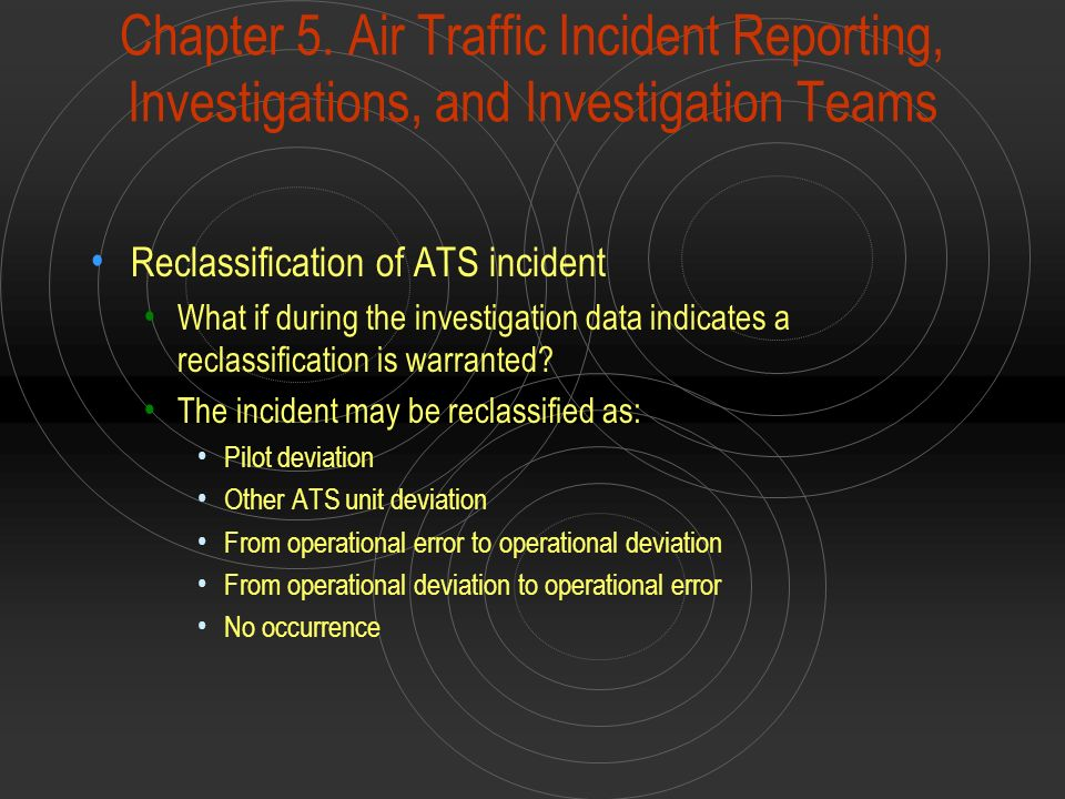 Chapter 5. Air Traffic Incident Reporting, Investigations, and Investigation Teams