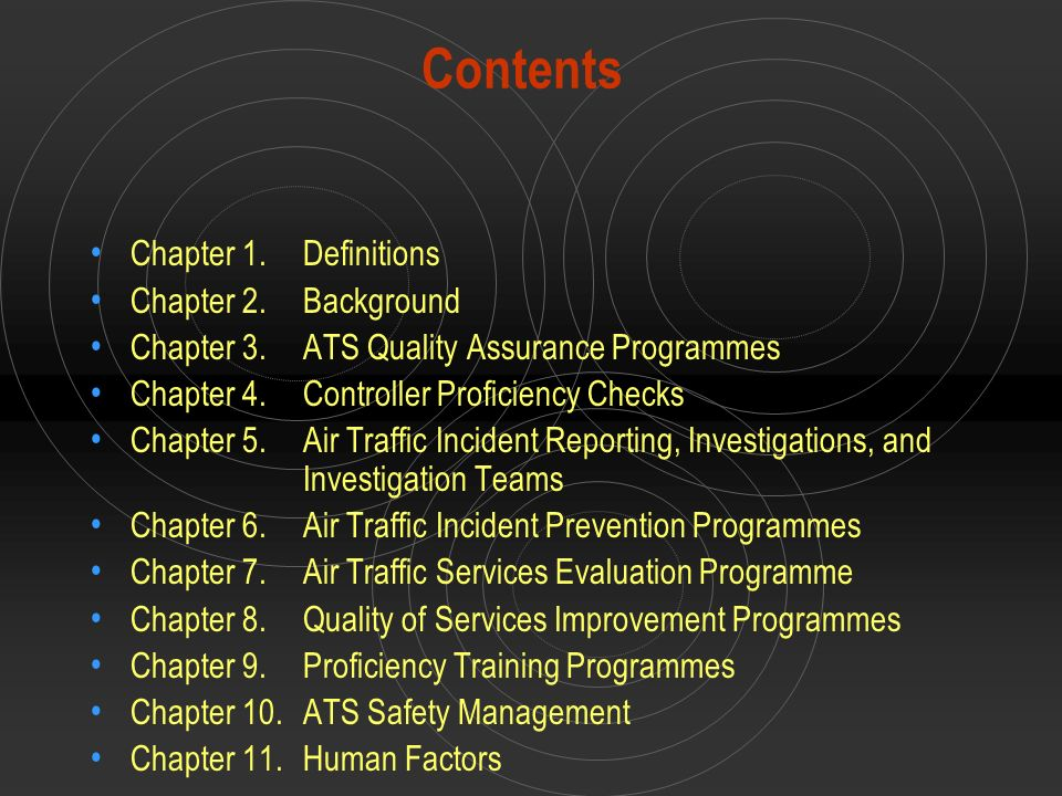 Contents Chapter 1. Definitions Chapter 2. Background
