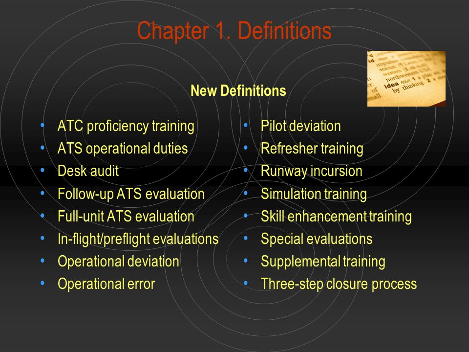 Chapter 1. Definitions New Definitions ATC proficiency training