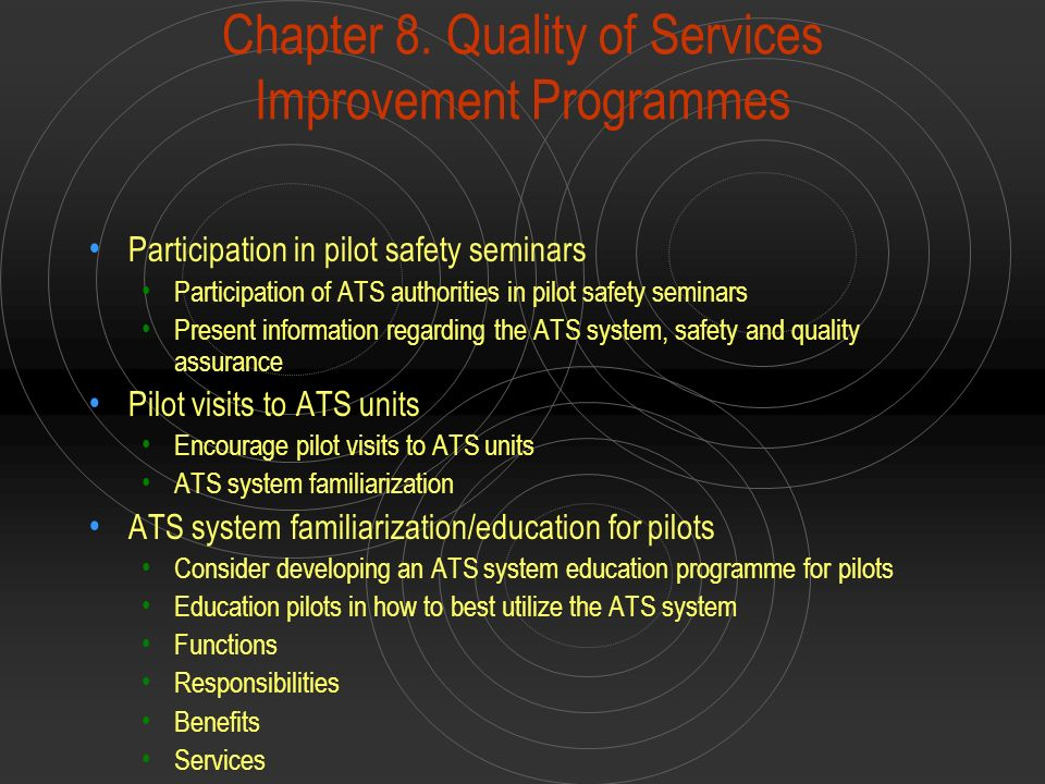 Chapter 8. Quality of Services Improvement Programmes