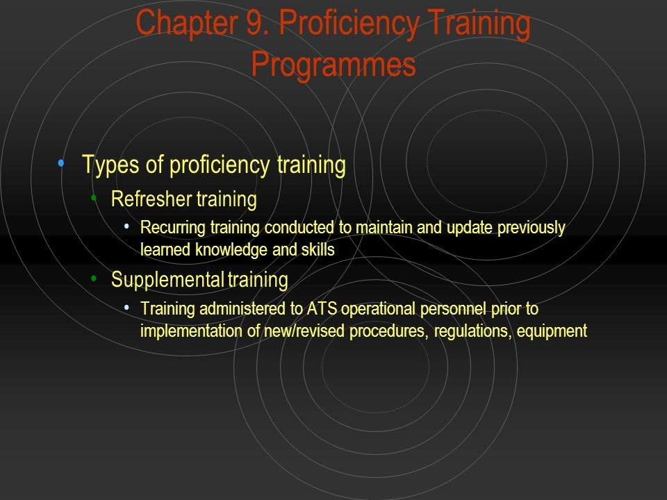 Chapter 9. Proficiency Training Programmes
