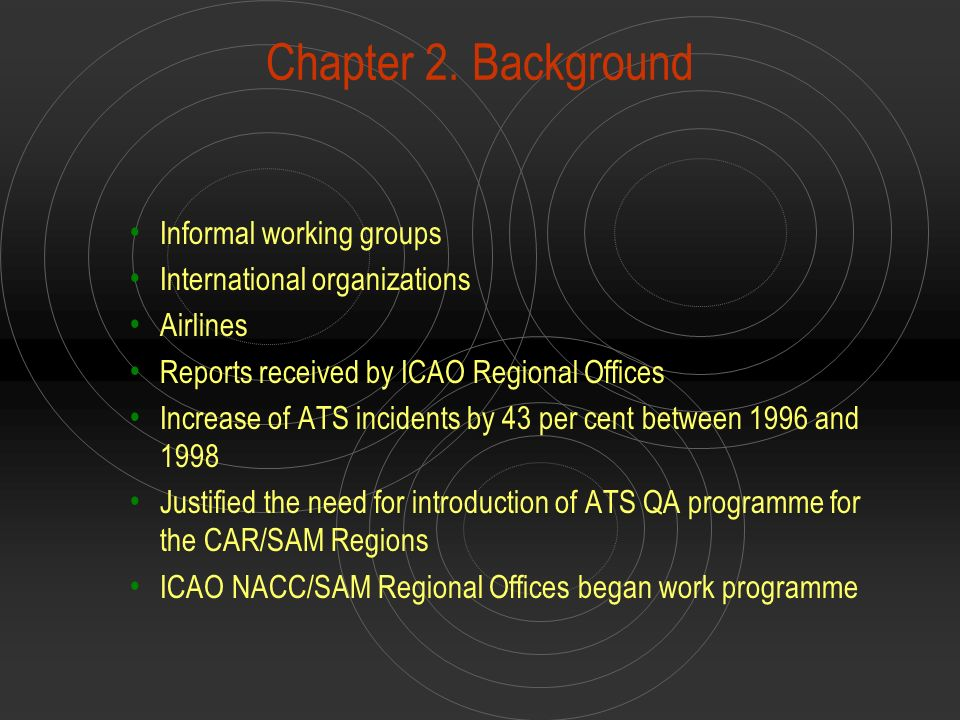 Chapter 2. Background Informal working groups