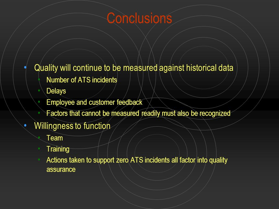Conclusions Quality will continue to be measured against historical data. Number of ATS incidents.